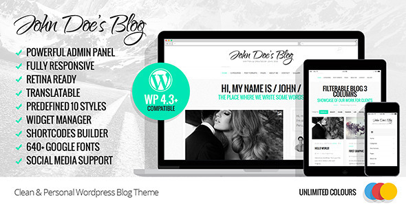 John Doe's Blog - Clean Wordpress Blog Theme  - Personal Blog / Magazine