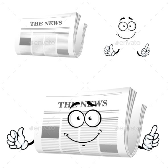 Cartoon Newspaper With Attention Gesture - Objects Vectors