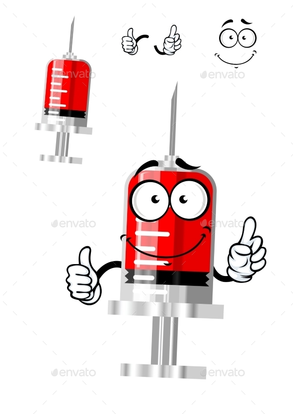 Medical Isolated Syringe Cartoon Character  - Health/Medicine Conceptual