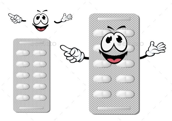 Cartoon Smiling Silver Blister Of Pills