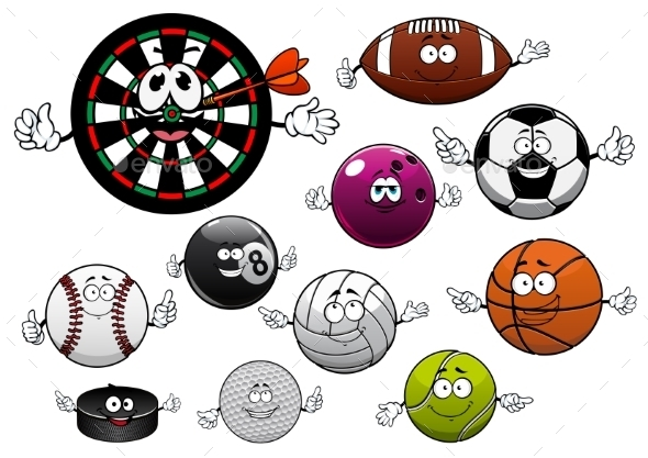Cartoon Dartboard, Puck And Sport Balls - Sports/Activity Conceptual