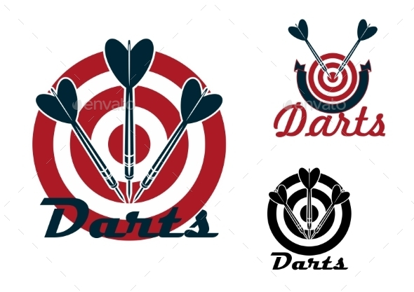 Darts Emblems With Dartboards And Arrows  - Sports/Activity Conceptual
