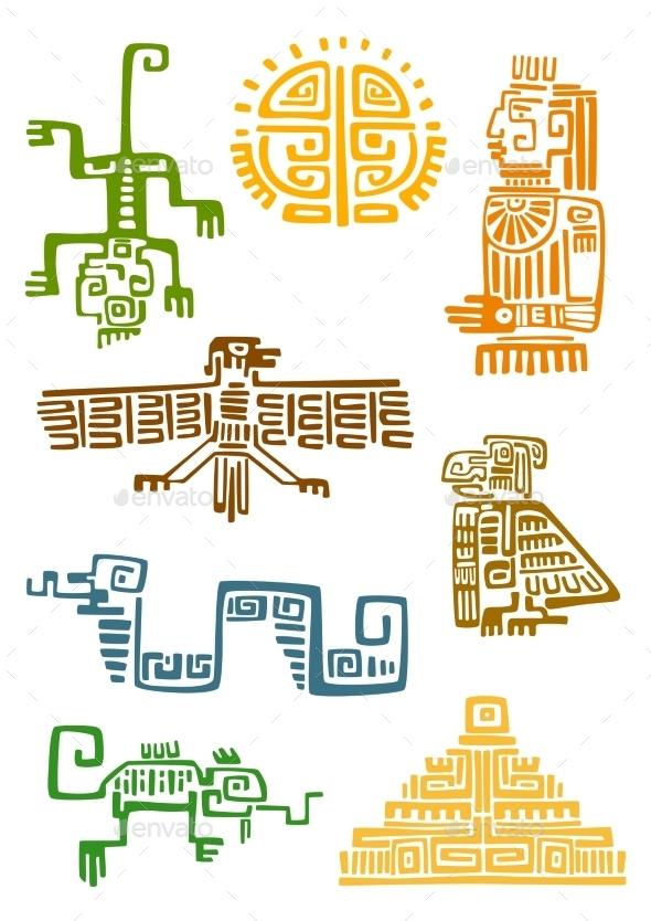Aztec And Maya Ornamental Symbols - Decorative Symbols Decorative
