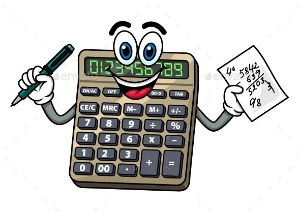 Cartoon Calculator With Pen And Note - Objects Vectors