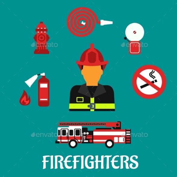 Firefighter Profession Color Flat Icons - Conceptual Vectors