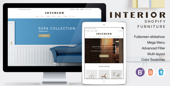 Responsive Minimalist Shopify Theme for Interior