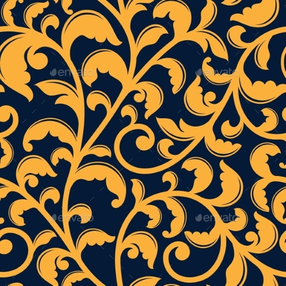 Yellow Floral Seamless Pattern On Blue - Backgrounds Decorative