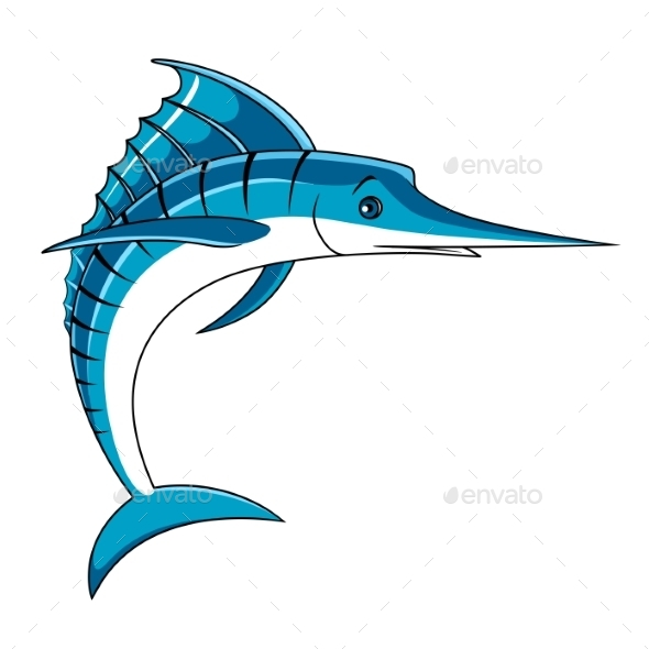 Jumping Big Blue Marlin Fish - Animals Characters
