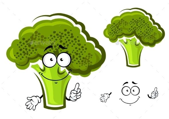 Cartoon Green Fresh Broccoli Vegetable - Food Objects