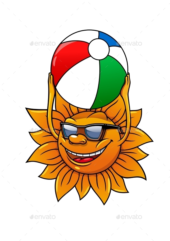 Funny Summer Sun With Ball - Travel Conceptual