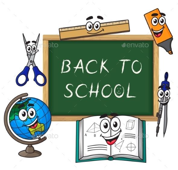 Blackboard With Cartoon School Supplies - Objects Vectors