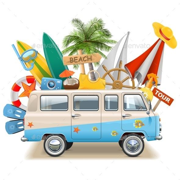 Vector Beach Concept with Bus - Sports/Activity Conceptual