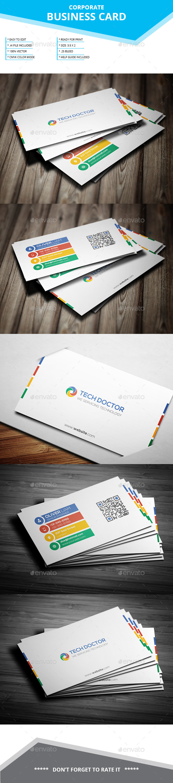 Corporate Business Card _ SL-30 - Business Cards Print Templates