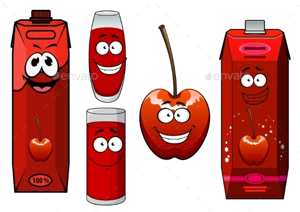 Cartoon Red Sweet Cherry Juice And Fruit - Food Objects