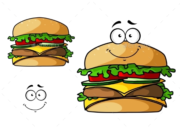 Cartoon Isolated Fast Food Cheeseburger - Food Objects