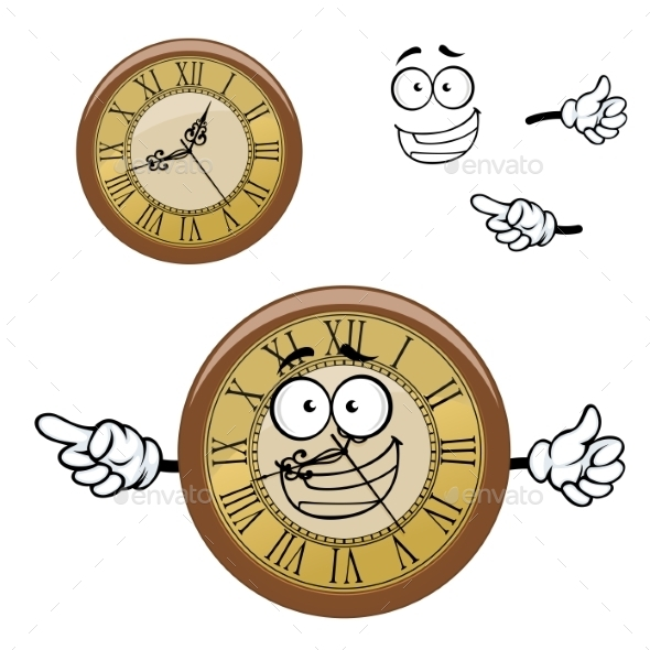 Vintage Isolated Clock Cartoon Character - Objects Vectors