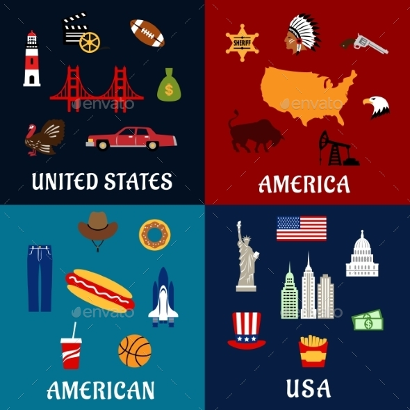 USA Travel And American Flat Icons - Travel Conceptual