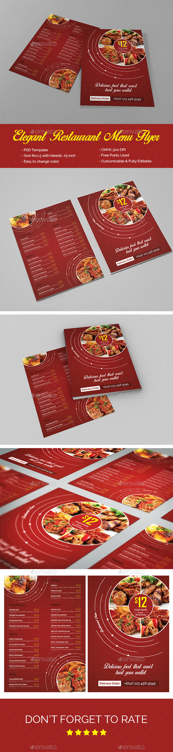 Elegant Restaurant Menu Flyer - Food Menus Print Templates