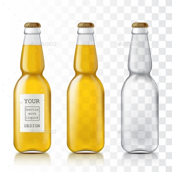 Realistic Transparent Glass Bottles. - Objects Vectors