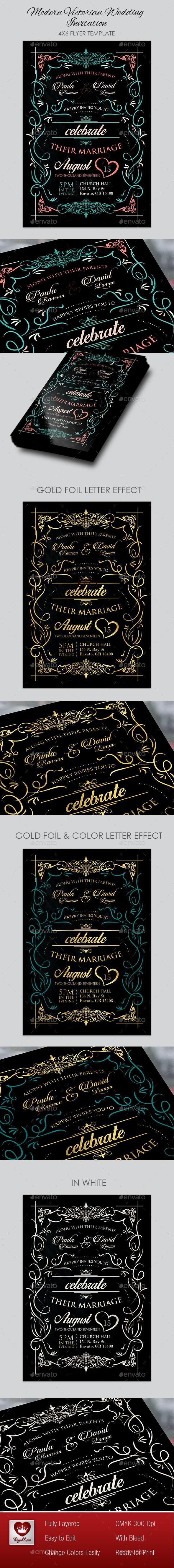 Modern Victorian Wedding Invitation I - Invitations Cards & Invites