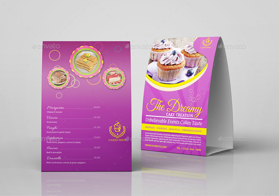 Cake Shop Table Tent Template By Owpictures | Graphicriver
