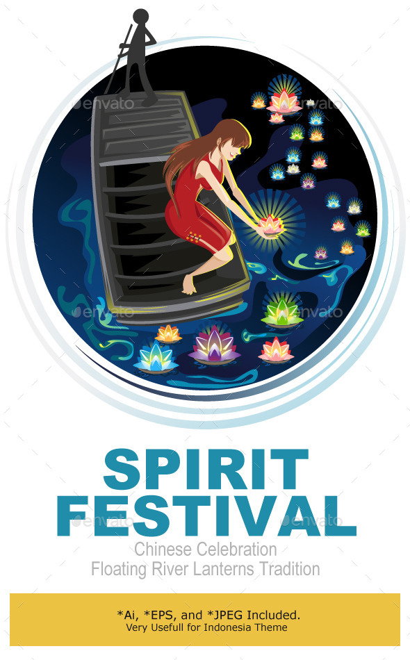 Spirit Festival Floating River Lanterns - Religion Conceptual