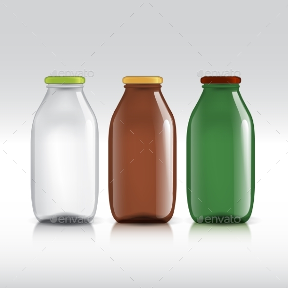 Realistic Bottles Of Glass Package For Milk