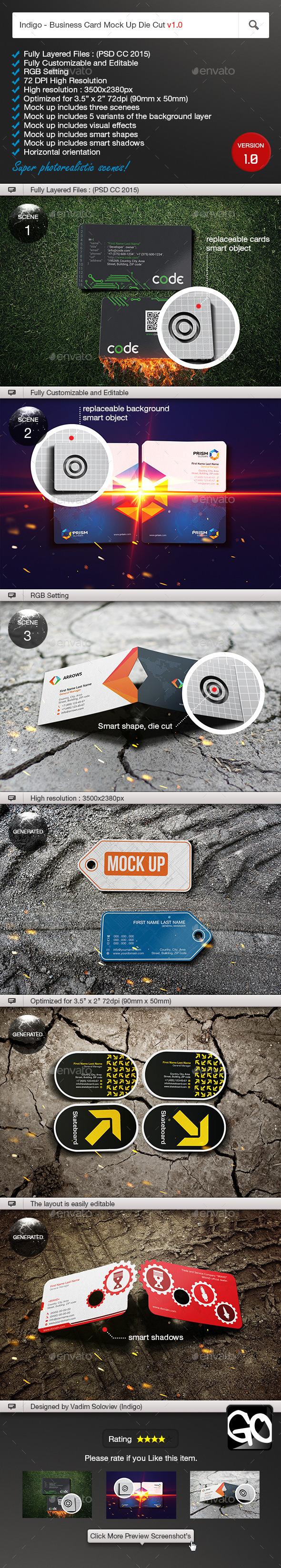 Indigo Business Card Mock Up Die Cut v1.0