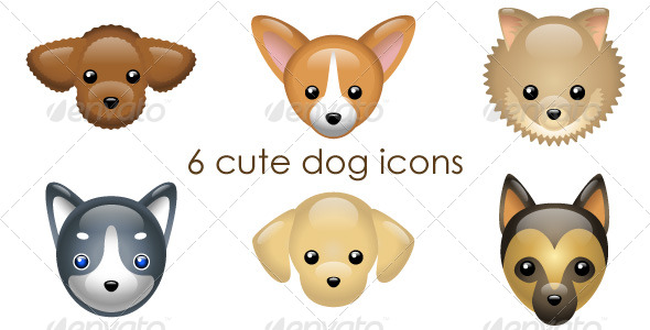 6 cute dog icons - Animals Characters