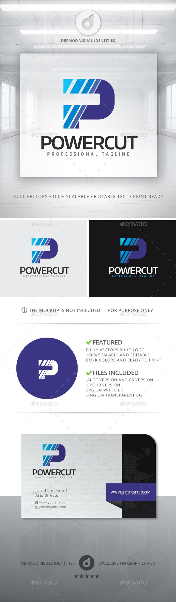 Power Cut Logo - Letters Logo Templates