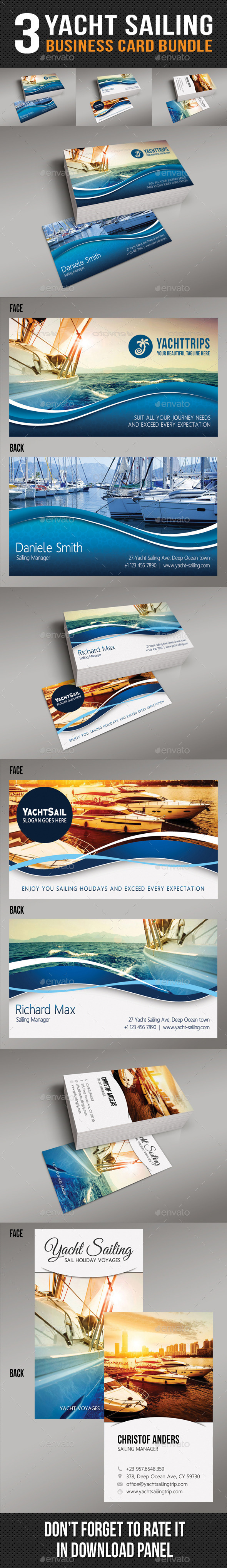 3 in 1 Yacht Sailing Business Card Bundle - Industry Specific Business Cards
