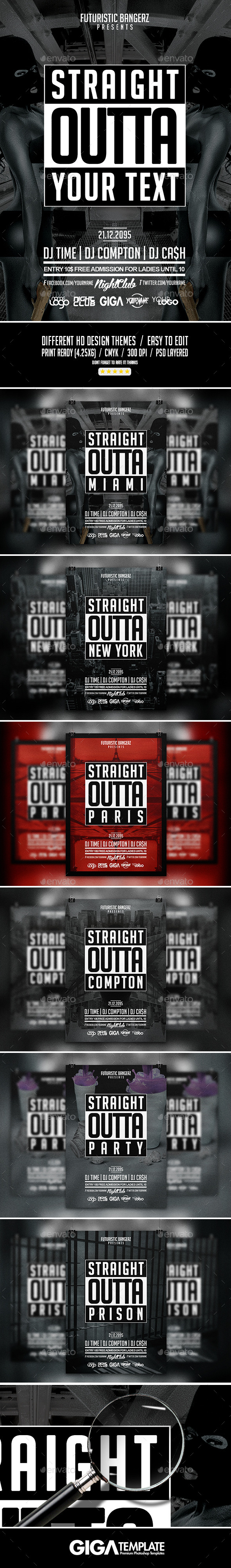 Straight Outta Party | Hip-Hop Flyer PSD Template - Events Flyers