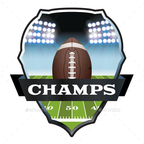 American Football Champs Badge Illustration