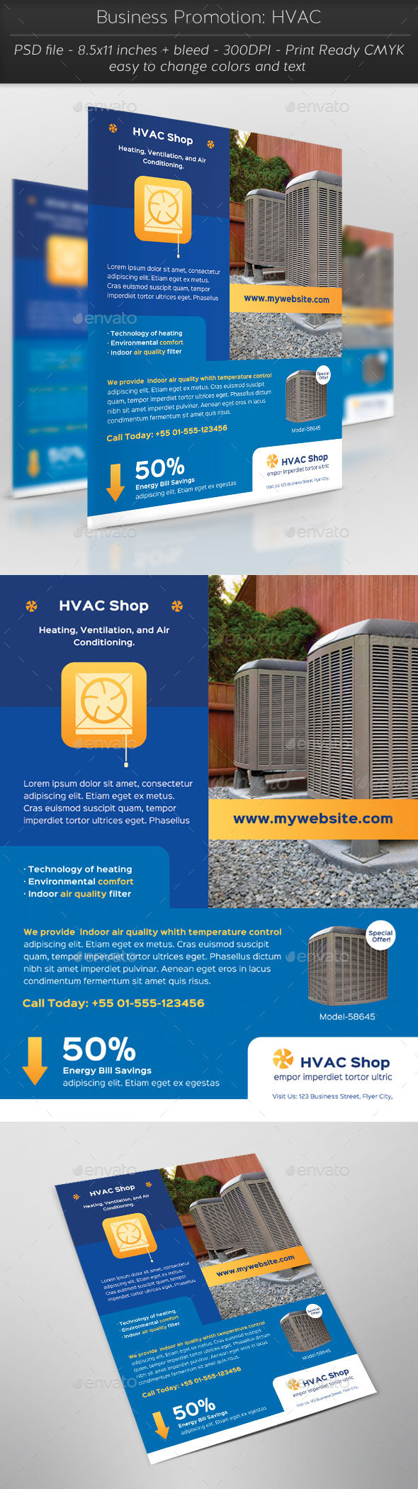 Business Promotion: HVAC - Flyers Print Templates