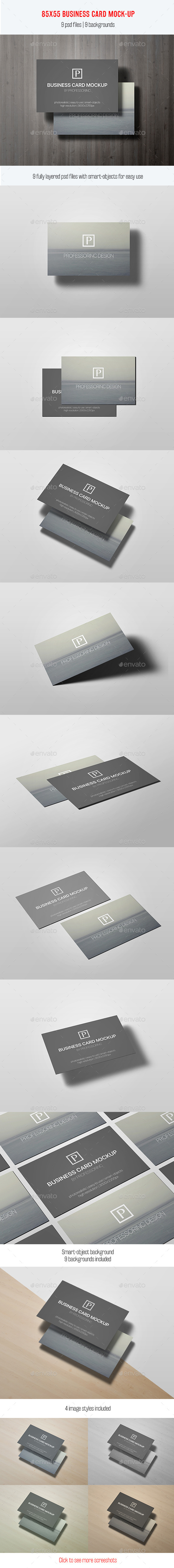 85x55 Business Card Mock-Up Vol. 2 - Business Cards Print