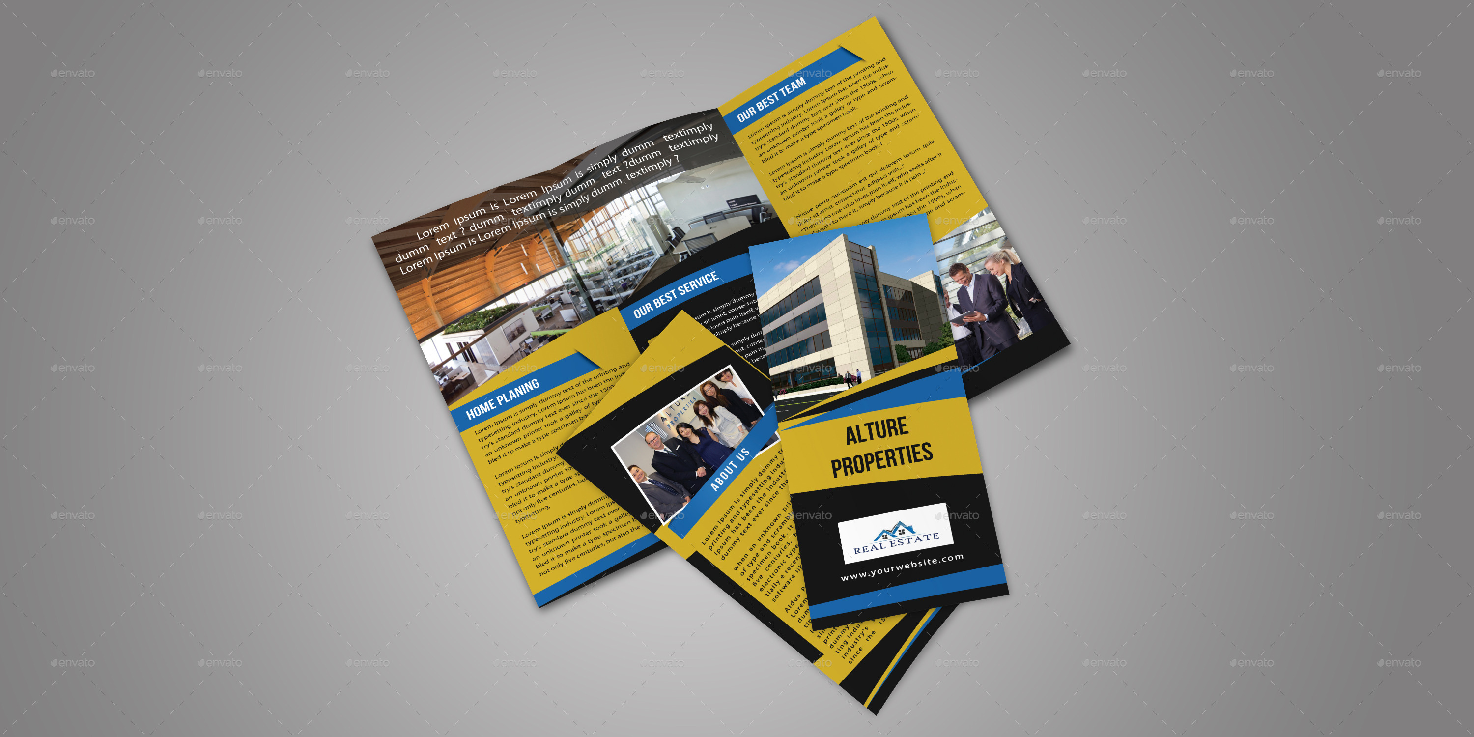 Real Estate Trifold Brochure Template by themexone   GraphicRiver