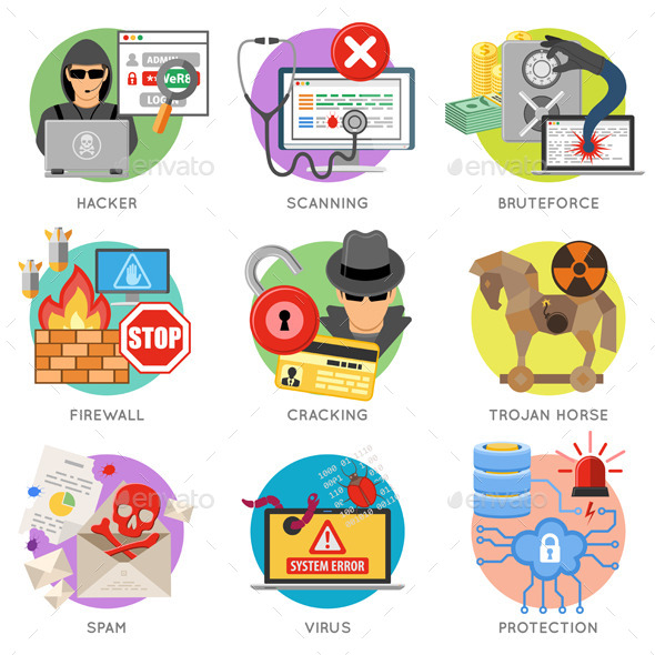Internet Security Flat Icon Set - Web Technology