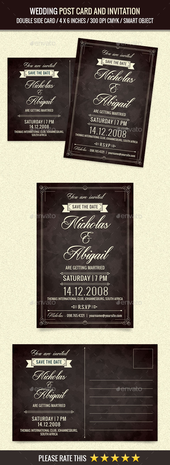 Wedding Invitation Post Card Template - Cards & Invites Print Templates