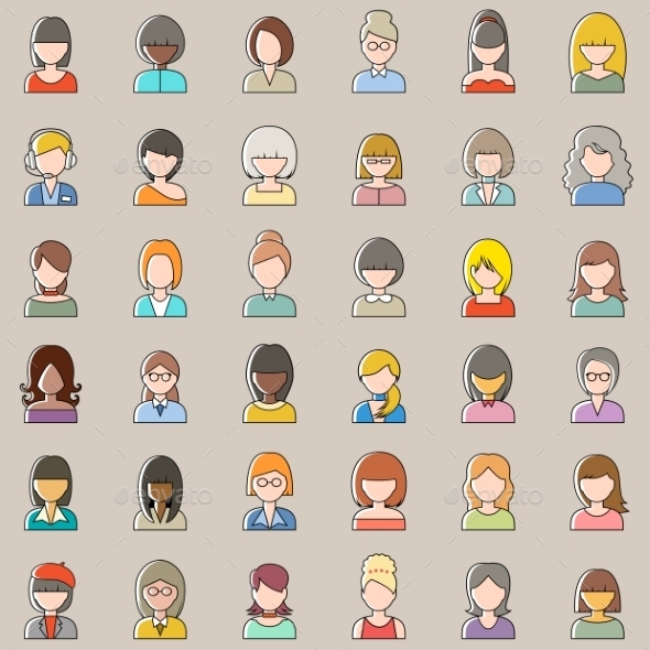 Set of Outlined Women Icons - People Characters