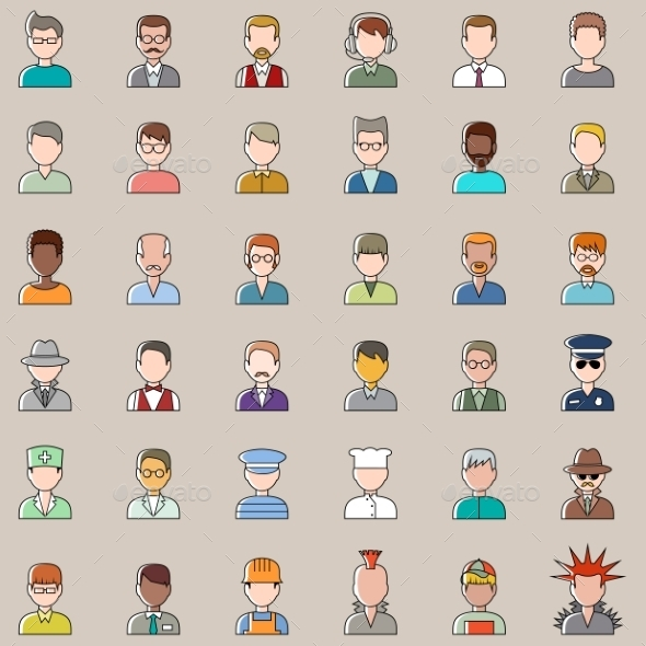 Set of Outline Men Icons - People Characters