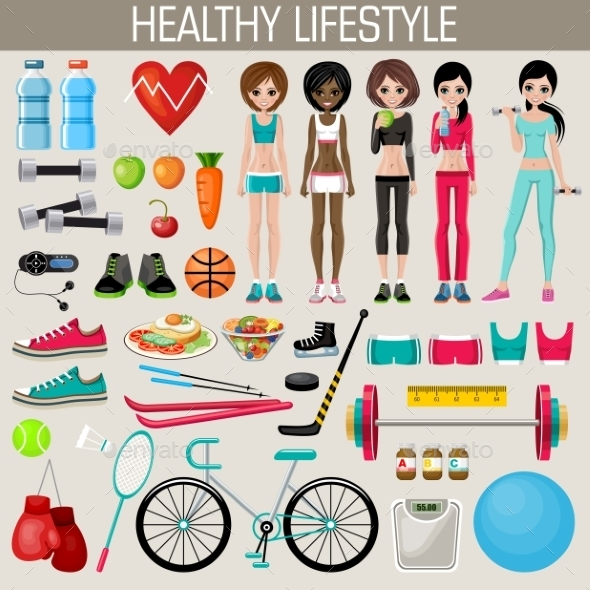 Set of Healthy Lifestyle Elements - Food Objects
