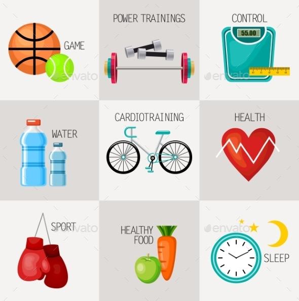 Healthy Lifestyle Concept Icons Set - Sports/Activity Conceptual