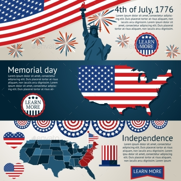 Set 4Th Of July Banners Vector