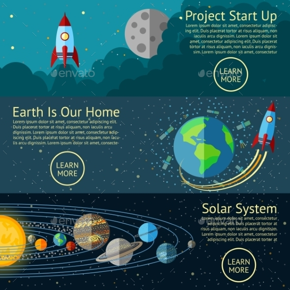 Set Of Space Banners Concepts - Rocket Start Up - Technology Conceptual