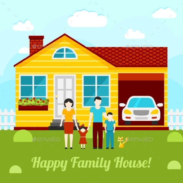 Happy Family House Concept Illustration - Couple - Miscellaneous Conceptual