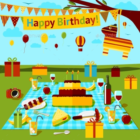 Happy Birthday Picnic Poster With Different Food By Tashal