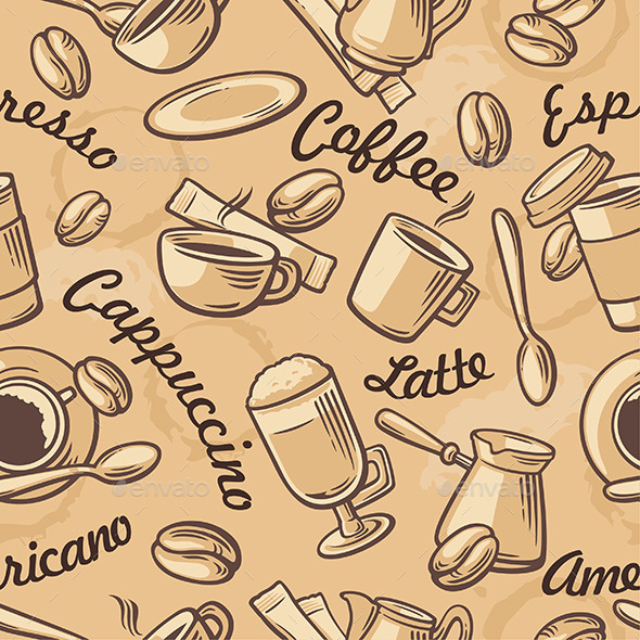 Seamless Coffee Pattern Hand Drawn - Food Objects