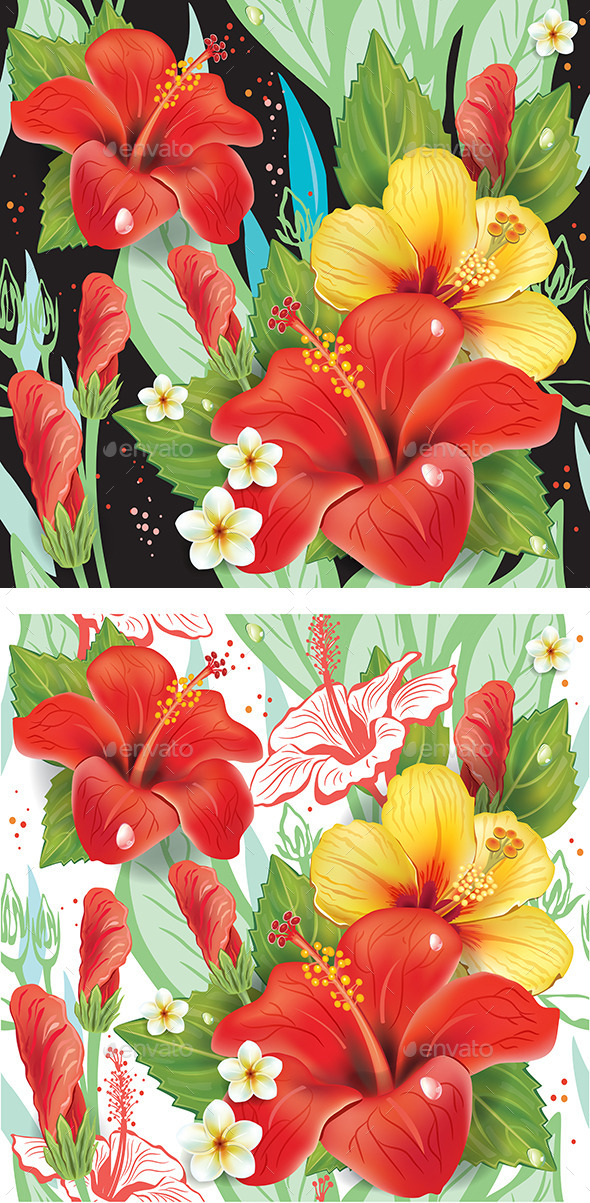 Seamless Floral Pattern with Hibiscus - Patterns Decorative