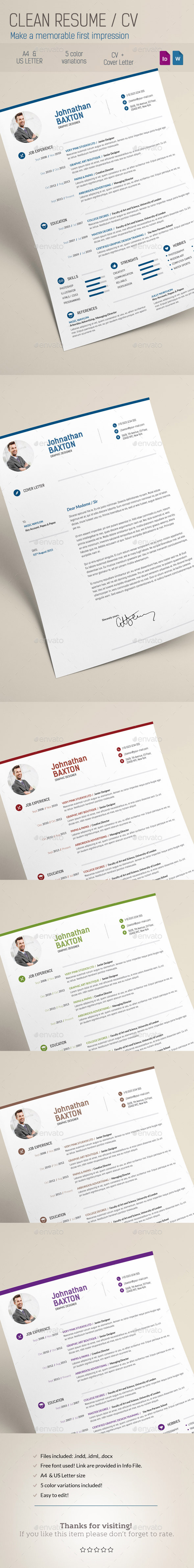 Clean Resume CV - Resumes Stationery