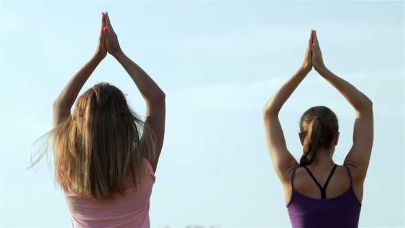 Two Beautiful Girls Doing Yoga In The Park